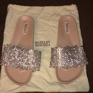 Badgley mischka Beaded slides!